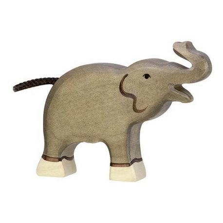Holztiger Elephant, Small, Trunk Raised - Adams Attic
