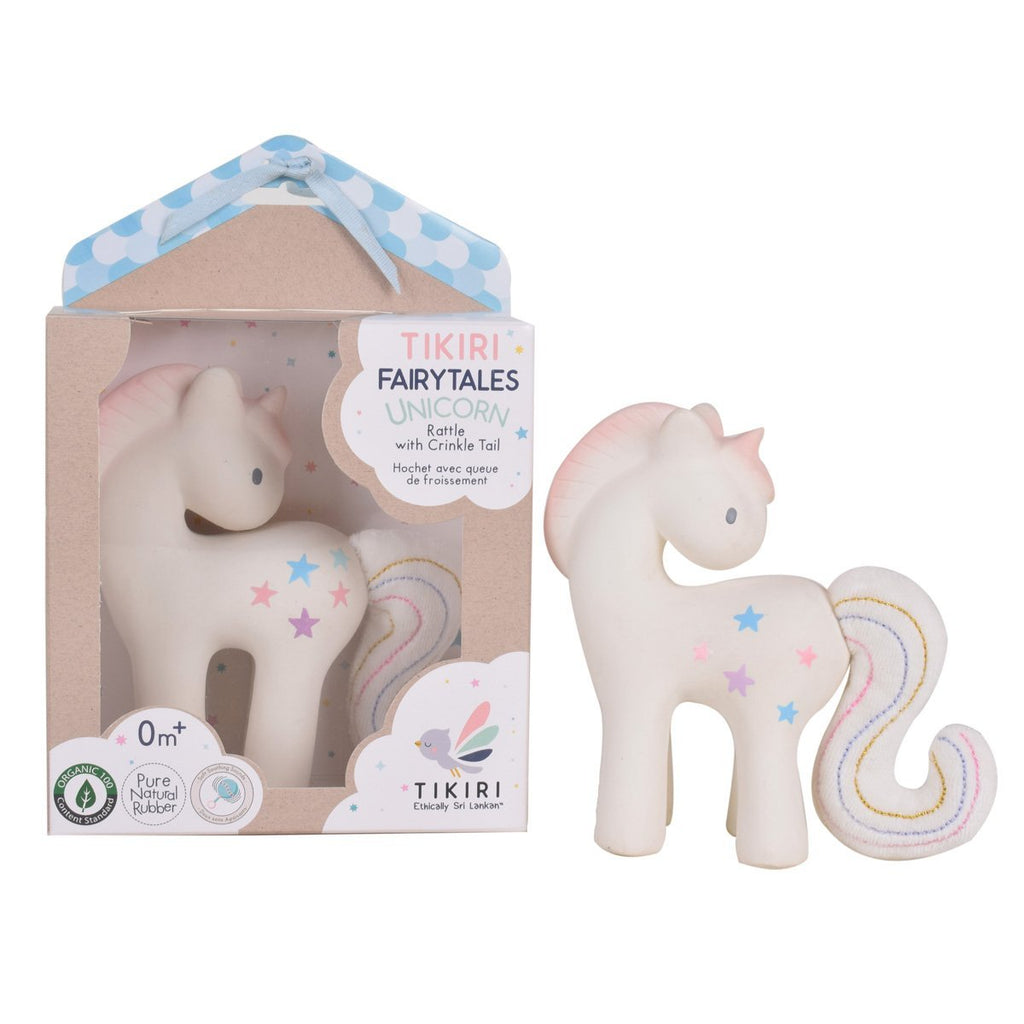 Tikiri Toys Cotton Candy Unicorn Natural Rubber Rattle with Crinkle Tail - Adams Attic