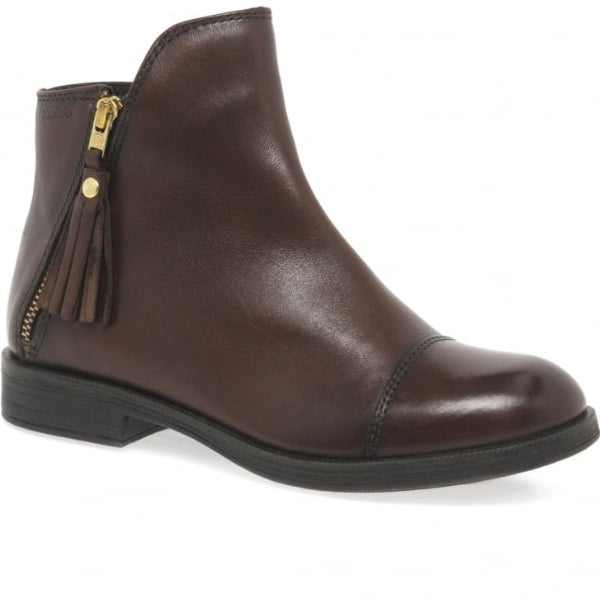 Geox Agata Ankle Boot Smooth Leather Brown - Adams Attic