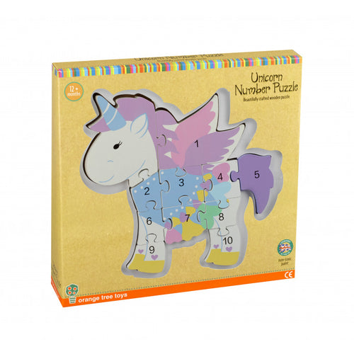Orange Tree Toys Number Puzzle Unicorn - Adams Attic