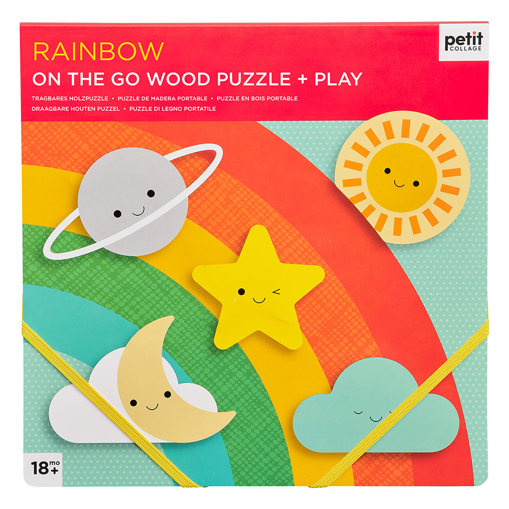 Petit Collage Chunky Wood Puzzle & Play - Rainbow - Adams Attic