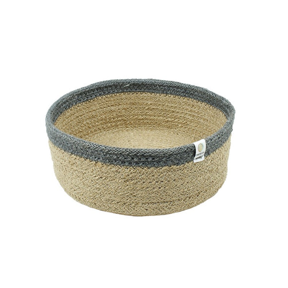 Shallow Jute Basket - Medium - Natural/Grey