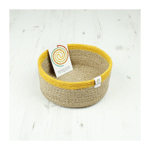 Shallow Jute Basket - Small - Natural/Yellow