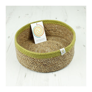 Respiin Shallow Seagrass & Jute Basket - Medium - Natural/Green - Adams Attic
