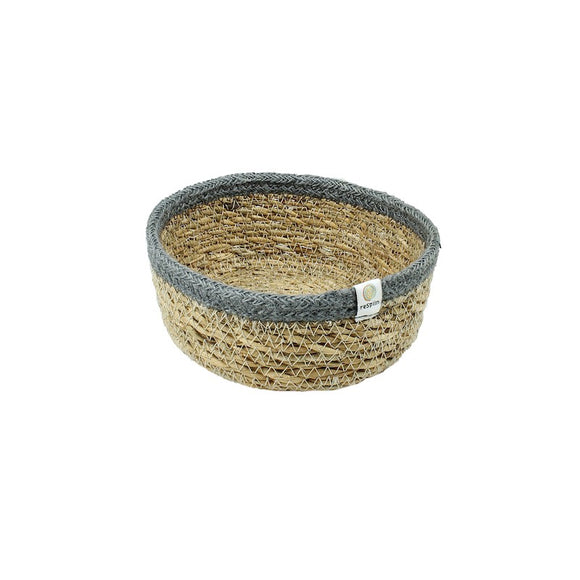 Shallow Seagrass & Jute Basket - Small - Natural/Grey