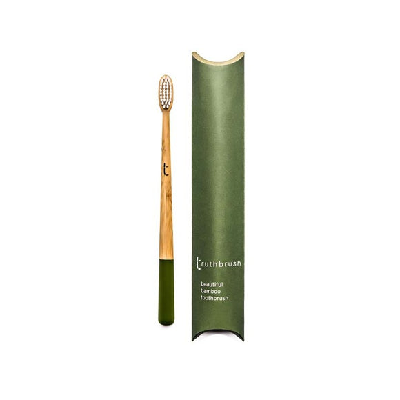 Truthbrush - Olive - Medium Castor Oil Bristles - Adams Attic