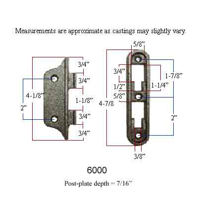 Measurements for #6000 bed rail fastener