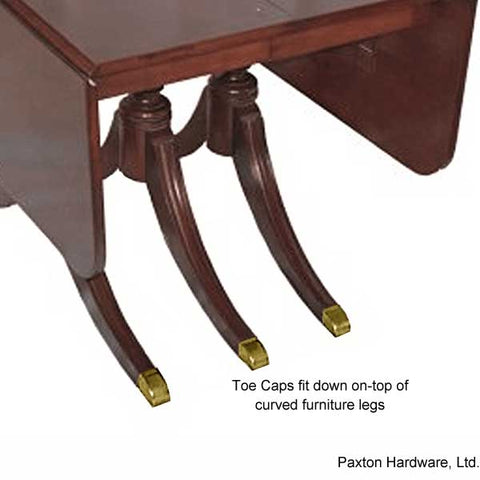 Brass Toe Caps shown on Duncan Phyfe style table