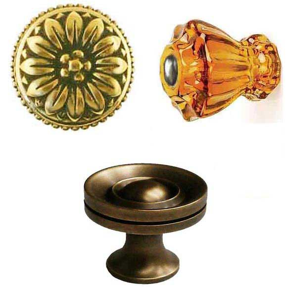 Artistic Cabinet Knobs made of brass, nickel, iron, porcelain, wood and glass