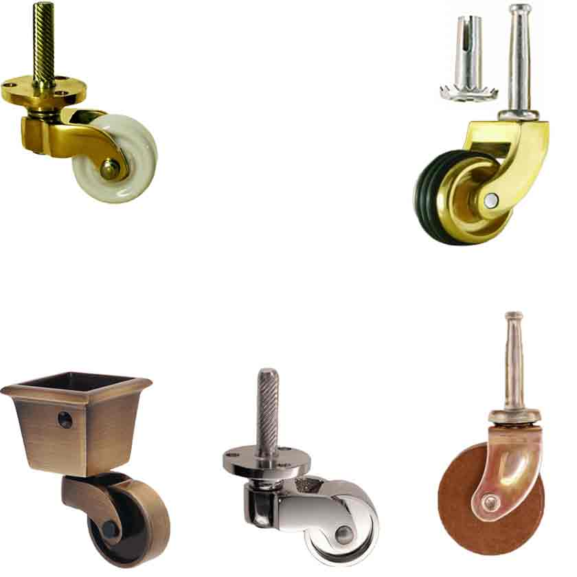 Furniture Casters with nickel, porcelain, wood or brass wheels