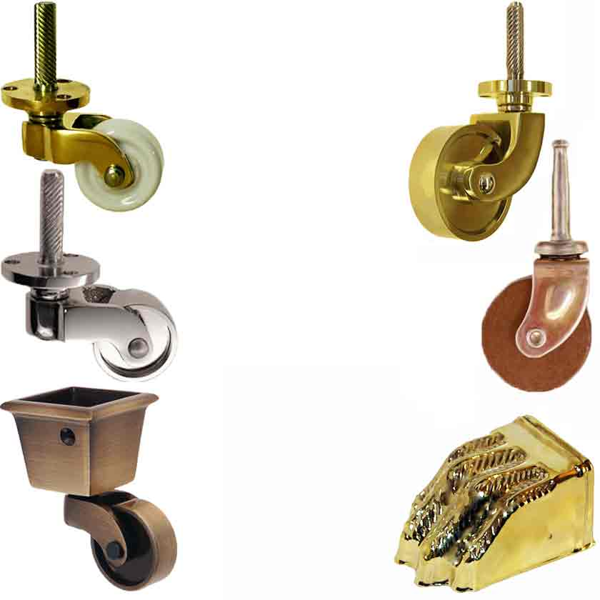 Casters for Furniture: brass, nickel, wood, porcelain