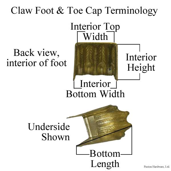 Measurement Diagram for brass claw feet