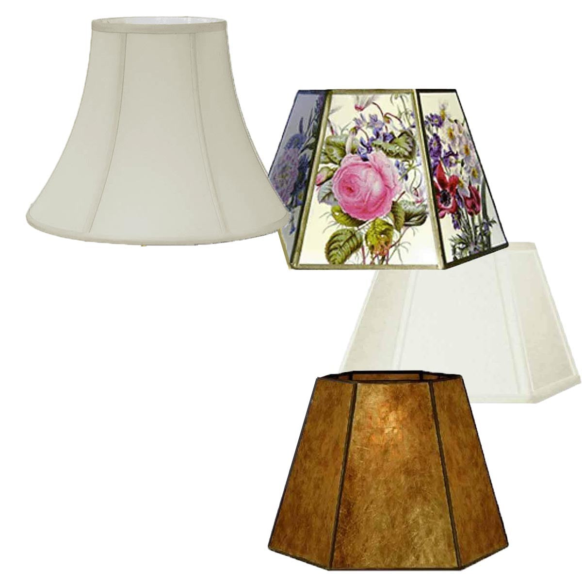 Fabric, Mica, Parchment Lamp Shades