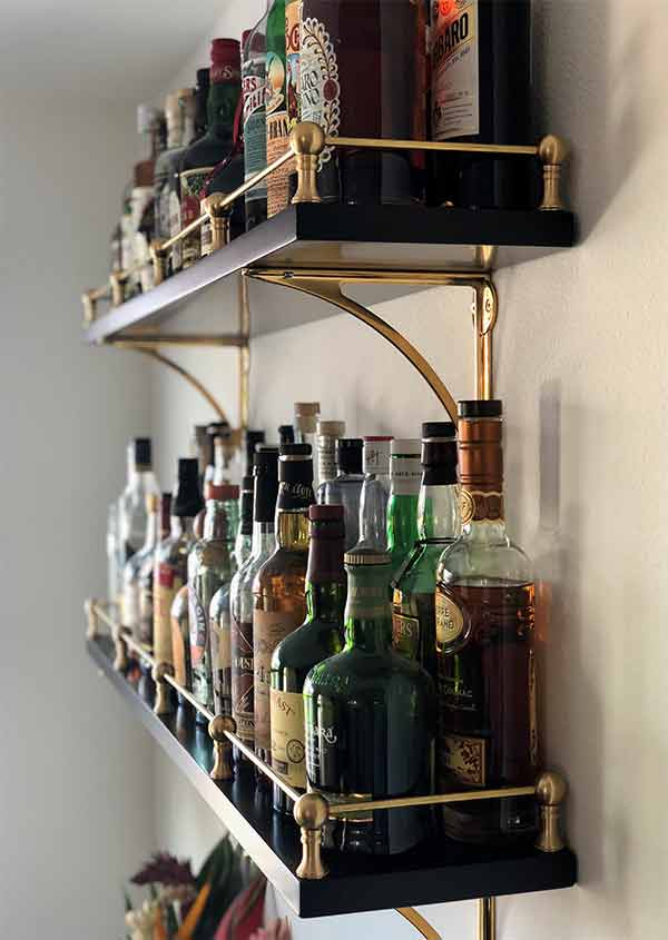 Brass Gallery Railing on shelf