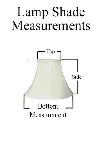 Measurement specifications for fabric, silk, mica and parchment lamp shades