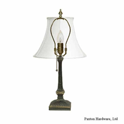 Table lamp with harp