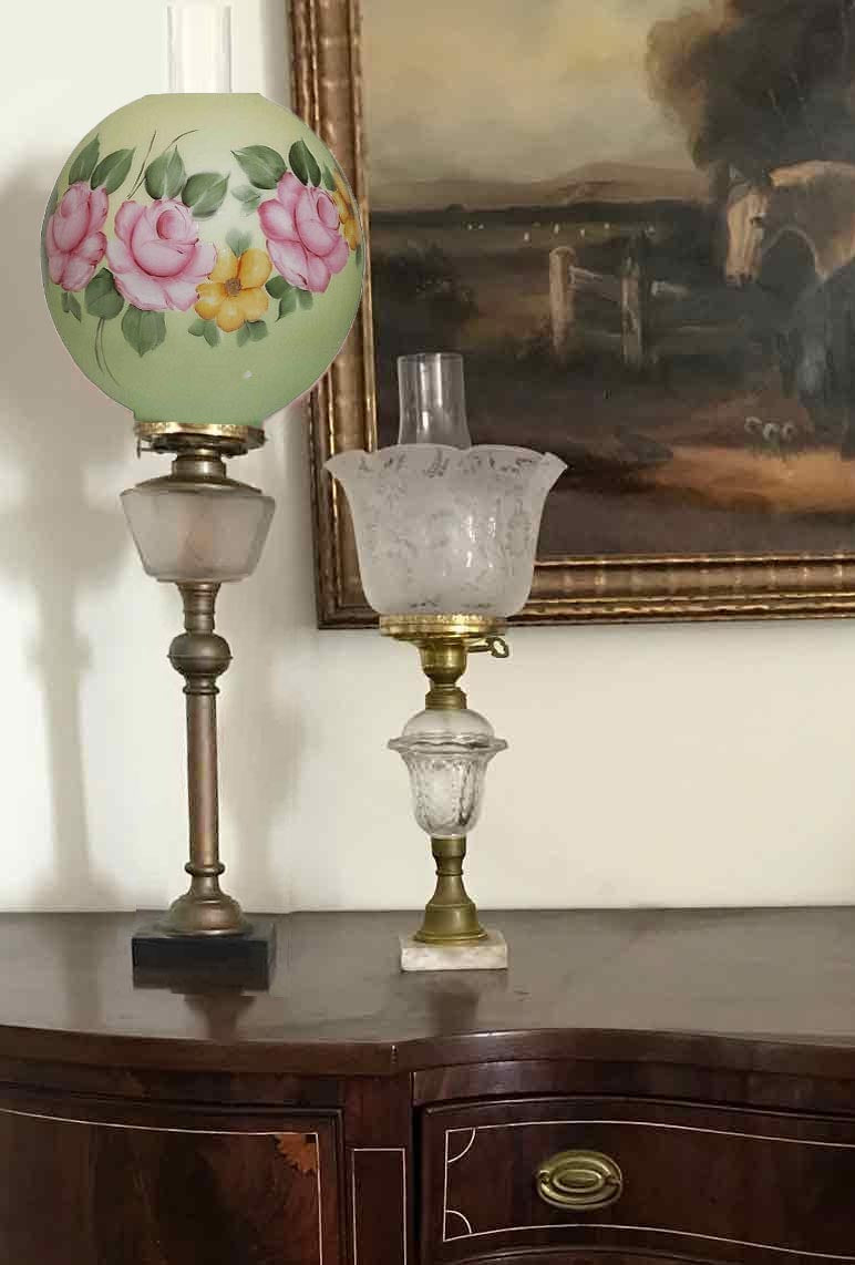 Antique glass Lampshades & Vintage Furniture Hardware