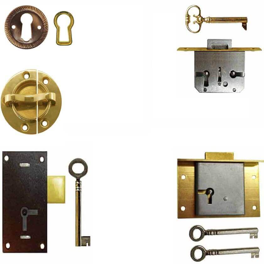Locks, Catches, Keyhole Covers for Furniture - Cabinets