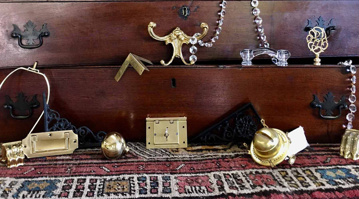 A Trove of Period Antique Hardware & Lighting - Antique Hardware, Handles Knobs, Lamp Shades