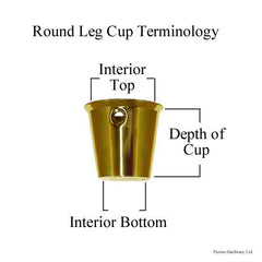 Round Brass Leg Cup with measurement diagram