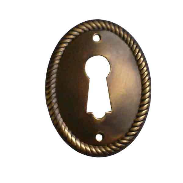 Antique Brass Keyhole Cover, Door Oval - paxton hardware ltd