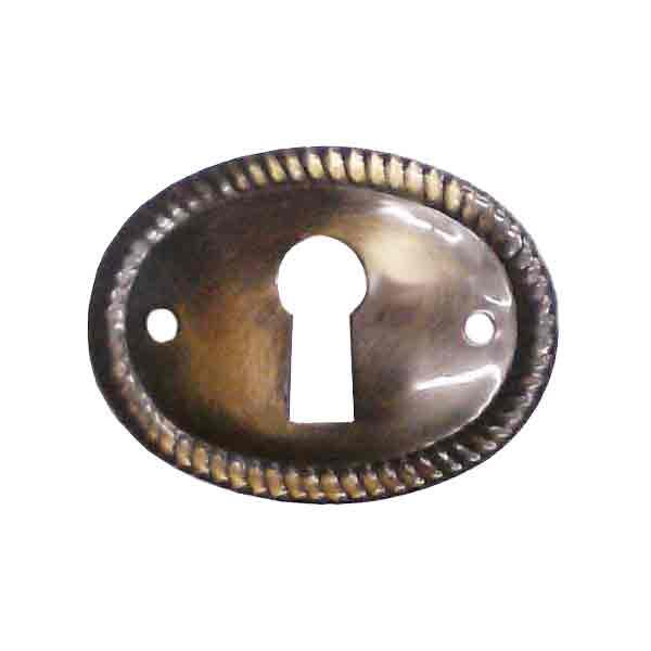 Horizontal Antique Brass Oval Escutcheons
