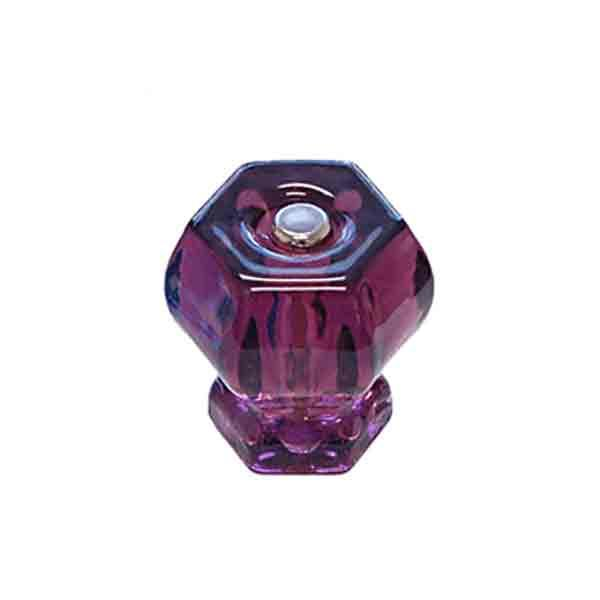 Purple Amethyst Glass Cabinet Knobs, Hexagon shape