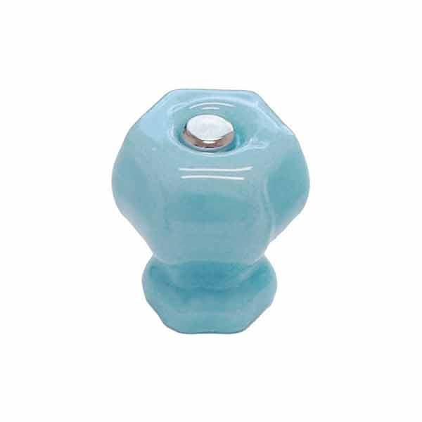 "Blue Milk Glass Knobs, small 1"" grip"