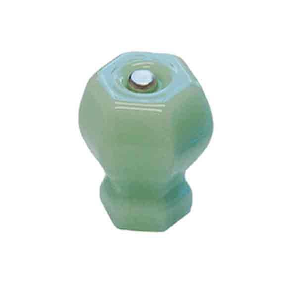 Green Milk Glass Knobs sized to fit kitchen cabinets