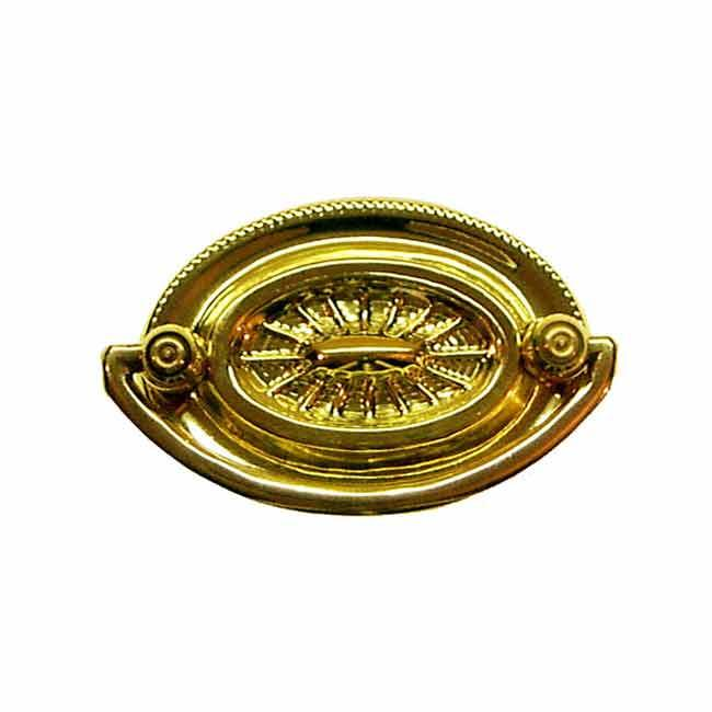 "Oval Hepplewhite Drawer Pulls, polished brass, 2"" boring"