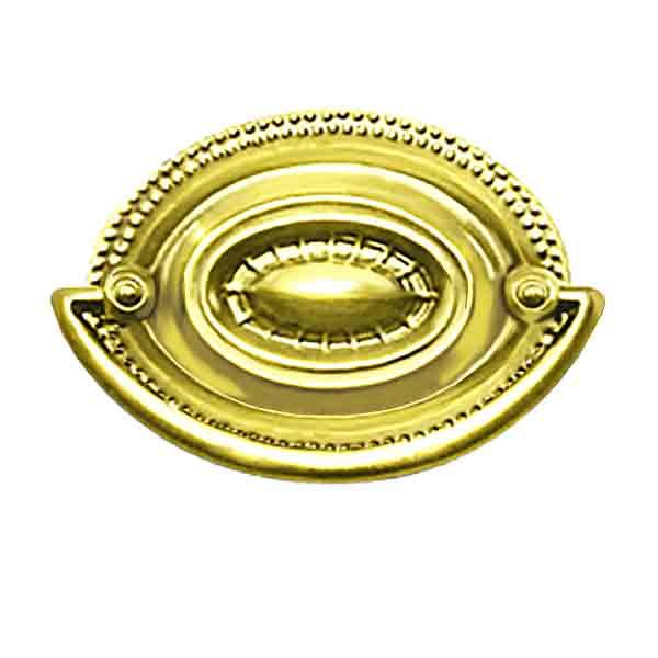 "Oval Hepplewhite Drawer Pulls, polished brass, 2-1/2"" boring"