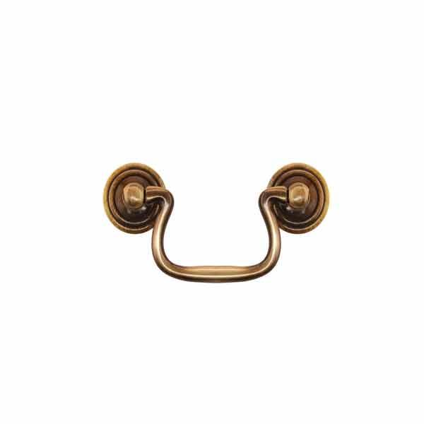 Antique Brass Bail Pulls, 2-1/2 centers - paxton hardware ltd