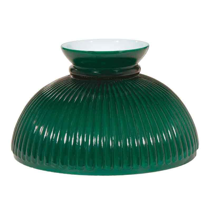 Green Glass Lamp Shade, Rib 10 inch - paxton hardware ltd