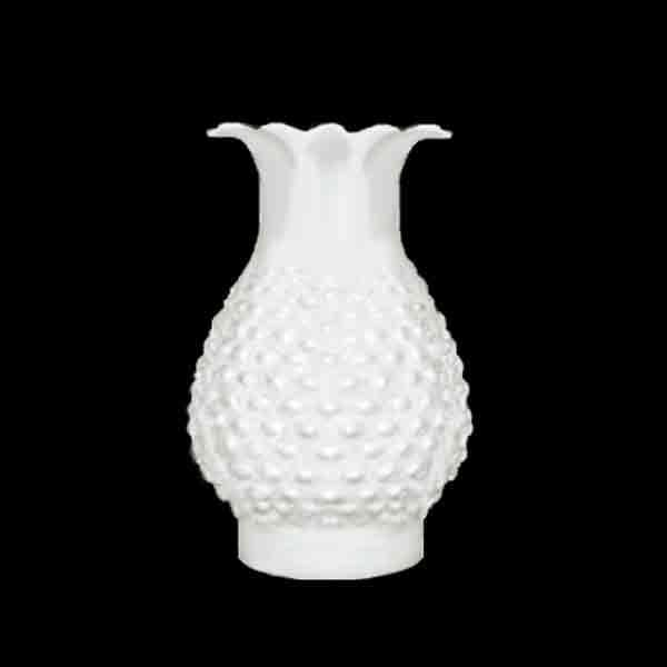White Hobnail Chimney with ruffled top, 3 x 7