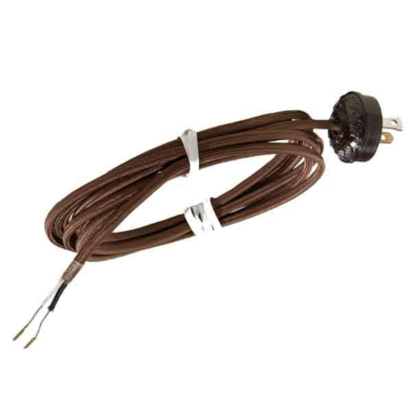 Brown Fabric Covered Lamp Cord with Plug - paxton hardware ltd