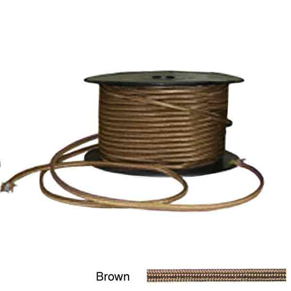 Brown Fabric Covered Lamp Wire, twin - paxton hardware ltd