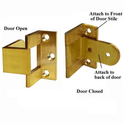 Extruded Brass, wrap-around hinges enable door to swing 270 degrees