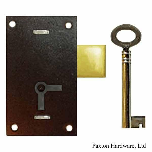 Tall Japanned Door Lock, 1-1/16 to-pin - paxton hardware ltd