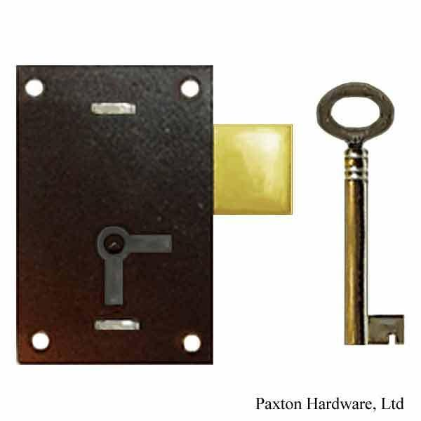 Japanned Door Lock, Backset 1-1/16""
