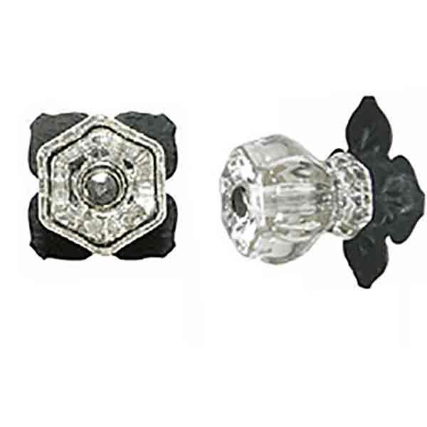 Vintage Glass Knobs, Cloverleaf Backlates - paxton hardware ltd