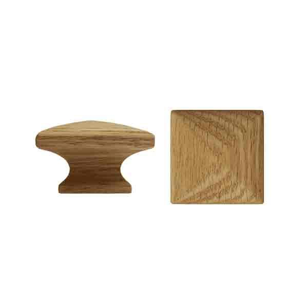 "Square Wood Knobs, Oak 1-1/4"" - paxton hardware ltd"