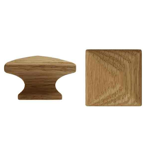 "Square Oak Cabinet Knobs, 1-3/4"" square"