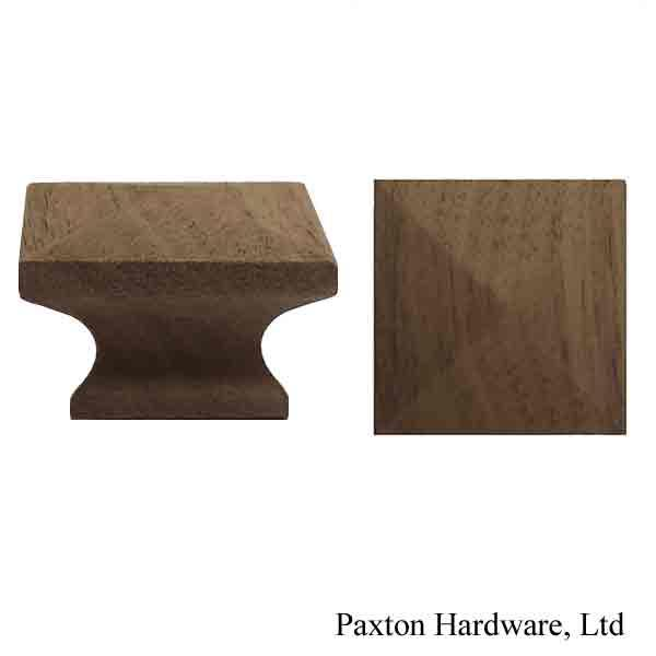 Square Walnut Wood Cabinet Knobs, 1-1/4""
