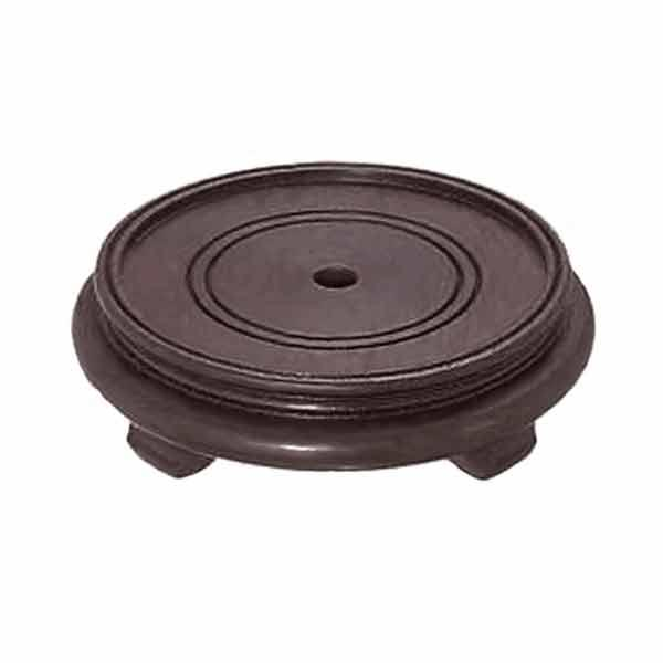 "Footed Lamp Base, made of Rosewood, with center wire hole, 5-1/2"" inset top"