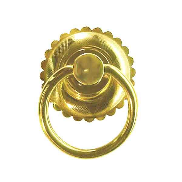 Scalloped Brass Victorian Ring Pulls for drawers and doors
