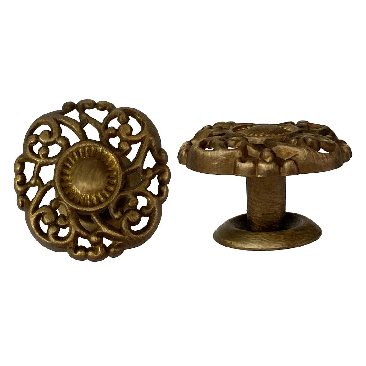 Antique Brass Victorian Knobs with Embossed Openwork design