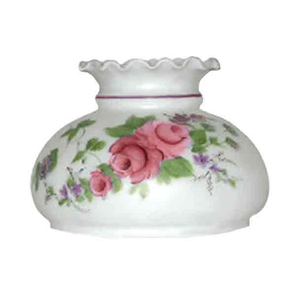 "Hand Painted Pink Rose Lamp Shades for oil lamps, 7"" fitter"
