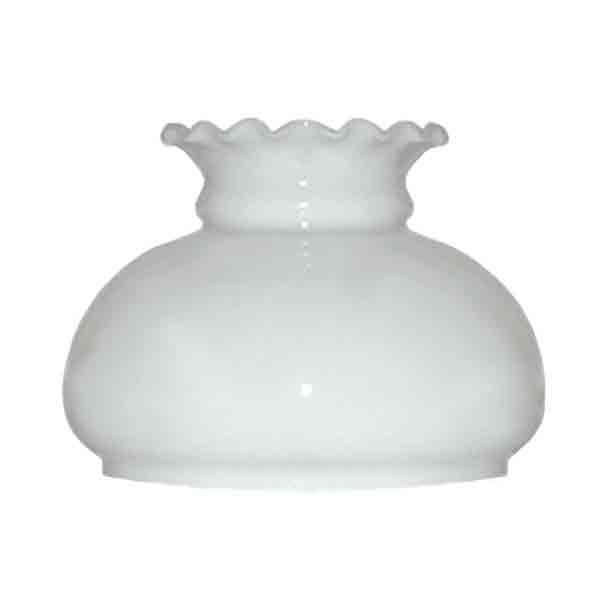 "White Opal Glass, Oil Lamp Shades with ruffled top, 7"" fitter"
