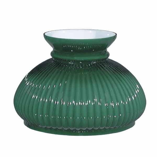 Green Rib Cased Glass Lamp Shades, seven-inch - paxton hardware ltd