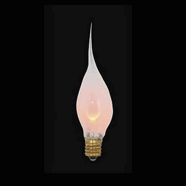 Silicone Flicker Light Bulbs create ambiance of a natural flame, small candelabra base